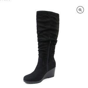 Soda Wedge Heel Slouchy Knee High Boots